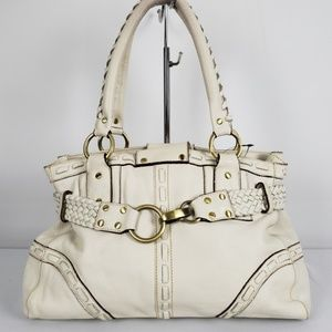 Handbags - White Leather Made in Italy Gold Detail Purse